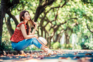 Image Asian Bokeh Sit Jeans Hat Blouse young woman