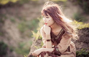 Image Asian Brown haired Bokeh Hands Sit young woman