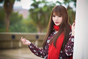 Images Asian Brown haired Scarf Glance Hands Bokeh young woman
