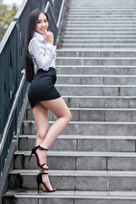 Wallpaper Asian Posing Stairs Legs Skirt Blouse Smile Staring Girls