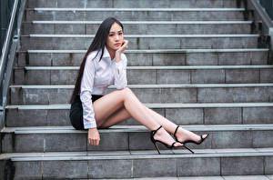 Images Asian Sitting Stairs Legs Blouse Skirt Staring