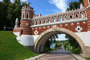 Picture Bridges Russia Park Moscow Arch Tower Tsaritsyno Cities