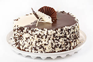 Pictures Cakes Chocolate White background Design
