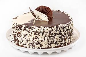 Bilder Torte Schokolade Weißer hintergrund Design Lebensmittel
