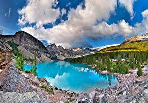 Photo Canada Lake Park Mountains Forest Scenery Banff Moiraine, Alberta Nature