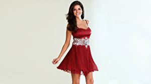 Images Carla Ossa Brunette girl Smile Glance Dress Columbian young woman