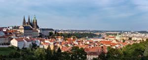 Bureaubladachtergronden Burcht Huizen Tsjechië Praag Panorama De horizon Prague Castle Steden
