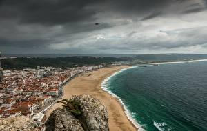 Wallpaper Coast Portugal Beach Thundercloud Horizon From above Nazare, Leiria County Nature