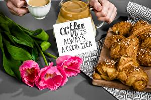 Pictures Coffee Croissant Tulips Lettering English Flowers