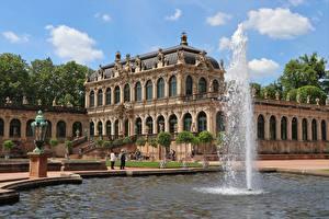 Fonds d'écran Dresde Allemagne Fontaine Palais Zwinger, Saxony Villes