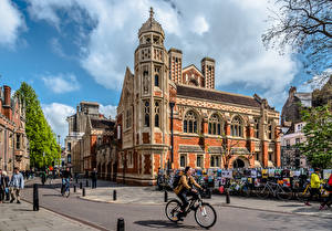Pictures England Building People Street Bicycle Old Divinity School, Cambridge Cities