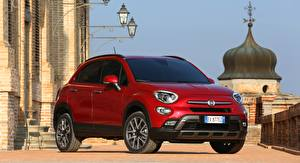 Picture Fiat Red Crossover Street lights 500X, Cross, 2015 Cars