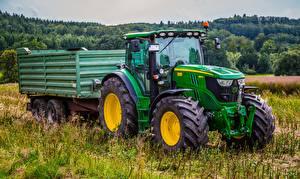 デスクトップの壁紙、、畑、トラクター、緑、草、John Deere 6150r, 4WD、