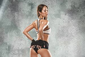 Image Fitness Ass buttocks Hands Glove Pose young woman Sport