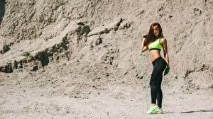 Wallpaper Fitness Uniform Posing Sneakers Girls