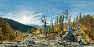 Photo Forests Mountain Autumn Russia Panorama Sit Republic Buryatia Nature