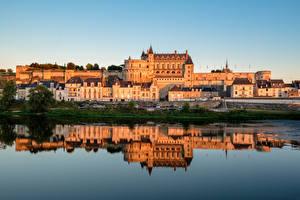 Pictures France Castle Rivers Reflection Amboise Castle Cities