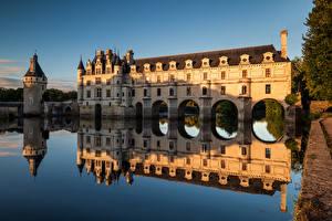 Wallpaper France Castles Rivers Reflected Tower Chateau de Chenonceau, River Cher