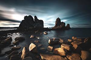 Bilder Frankreich Küste Stein Felsen Bretagne