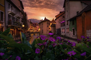 Wallpaper France Building Evening Canal Annecy Cities