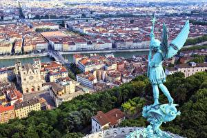 Photo France Houses Sculptures Angel From above Wings Lyon Cities