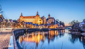 Wallpapers Germany Castle River Building Waterfront Bavaria Neuburg Cities
