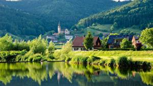 Pictures Germany Forests Lake Village  Nature