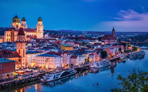 Picture Germany River Church Bavaria Night time Passau Cities