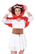 Hintergrundbilder Gia Ren iStripper Weißer hintergrund Kapuze Blick Hand Kleid Rotkäppchen Mädchens