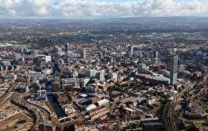 Wallpapers Houses England From above Manchester, County greater Manchester Cities