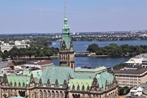 Photo Houses Germany Hamburg Roof Horizon Cities
