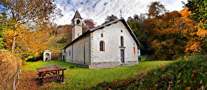 Pictures Italy Autumn Church Trees Val Taleggio, Lombardy Nature