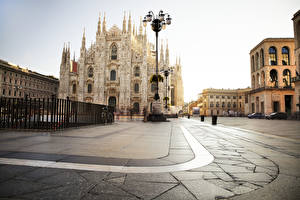 Pictures Italy Cathedral Town square Street lights Fence Piazza del Duomo, Milan, Milan Cathedral Cities