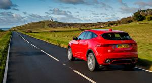 Wallpapers Jaguar Roads Back view Crossover Red E-Pace, R-Dynamic, First Edition, UK-spec, 2017 Cars pictures images