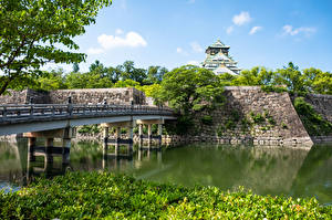 Picture Japan Gardens Pond Bridges Castle Osaka Castle Cities