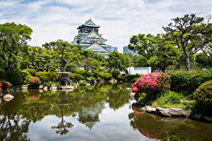 Pictures Japan Gardens Pond Castles Osaka Castle