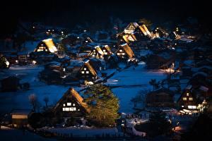 Fonds d'écran Japon Maison Village Nuit Arbres Shirakawa-go, Honshu Villes images