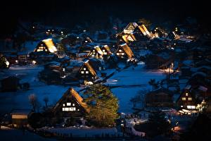 Wallpapers Japan Houses Village Night Trees Shirakawa-go, Honshu Cities