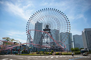 Image Japan Building Ferris wheel Yokohama Cities