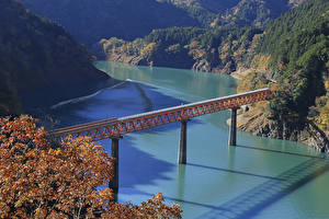 Wallpaper Japan Rivers Bridge Cliff Shizuoka Prefecture Nature