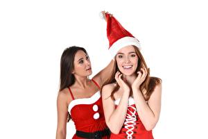 Photo Jia Lissa Liya Silver Christmas iStripper White background Staring Glance Smile Brown haired Winter hat Brunette girl Hands Young woman Girls