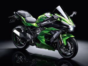 Hintergrundbilder Kawasaki Grün 2018-21 Ninja H2 SX Motorräder