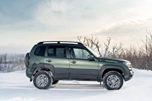 Bakgrunnsbilder Lada Snø Sett fra siden Metallisk SUV Niva Travel Off-Road, 2020 -- bil