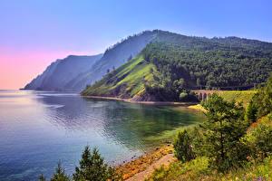 Fotos See Küste Wälder Gebirge Russland Hügel Lake Baikal, Eastern Siberia Natur