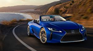 Images Lexus Blue Front At speed Convertible LC 500. Convertible, US-spec, 2020 auto