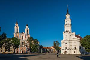 Fonds d'écran Lituanie Kaunas Église Tour (édifice) Place de la ville Kaunas Town Hall, Jesuit Church