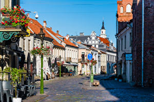 Fonds d'écran Lituanie Kaunas Bâtiment Rue Villes