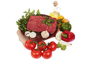 Wallpaper Meat products Garlic Tomatoes Onion Bell pepper Oil White background minced meat