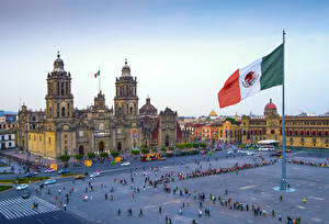 Hintergrundbilder Mexiko Kathedrale Platz Flagge Zocalo Square, Mexico City, Cathedral Assumption Blessed Virgin Mary Städte