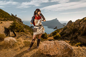 Image Mikhail Davydov photographer Mountains Stone Posing Cosplay Enu, RIME Girls Games